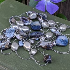 Jewelry - Silver Bead & Grey Blister Pearl Necklace